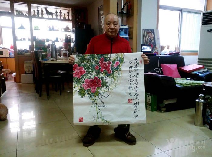 齐白石入室弟子刘永泰四尺斗方经典画作《红果》有合影