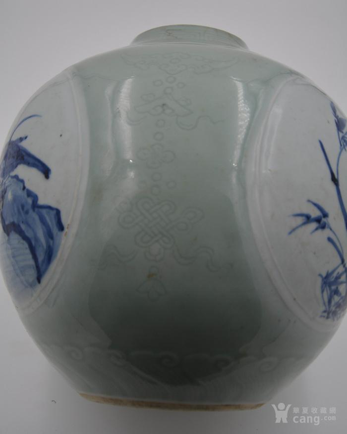 大清乾隆年制豆青釉暗刻花纹。青花釉里红开光天球瓶球体。图5