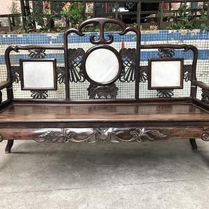 民国老红木酸枝 花卉纹佛床三人椅
