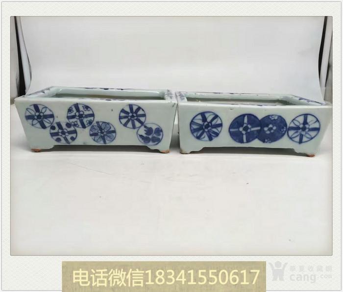 清中期青花皮球花纹水仙盆一对 1.06