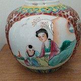 民国晚期三娘教子粉彩小罐