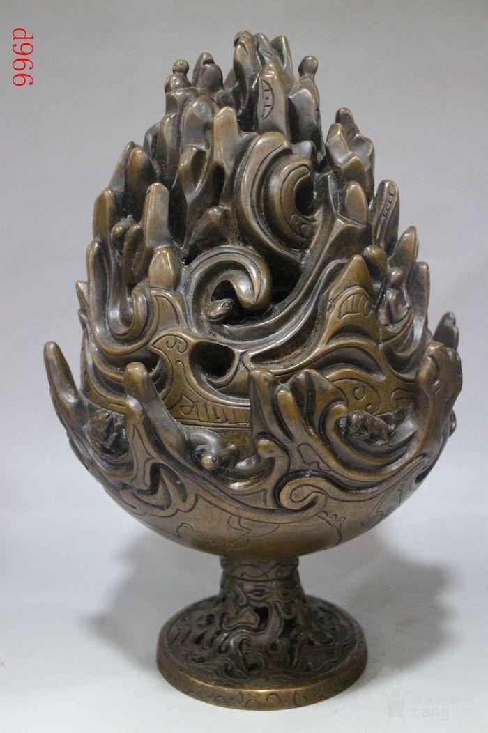 雕花博山炉香薰炉铜香炉