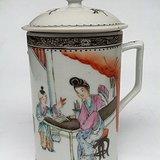 细路精品民国瓷器粉彩教子图诗文马克杯