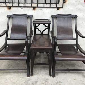 清代老红木酸枝 独板躺椅凉椅一套