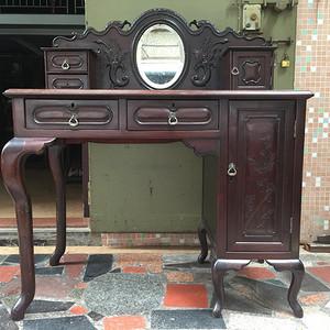 民国老红木酸枝 花卉纹梳妆台办公桌
