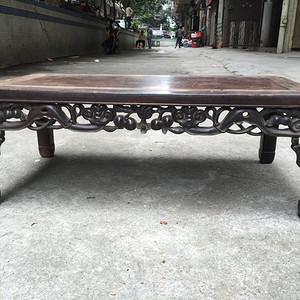 清代老红木酸枝 如意寿桃纹炕桌几