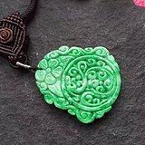 ★┋�P墨紫燕┋满绿翡翠雕花福字牌挂件项链