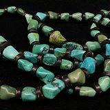 清代时期 老松石 随型珠项链 品相完整 69粒尺寸见图