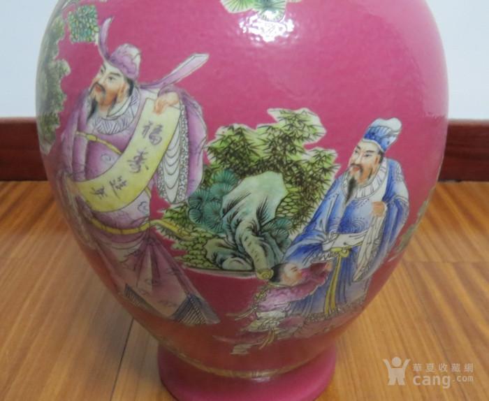 胭脂红釉福寿延年观音瓶