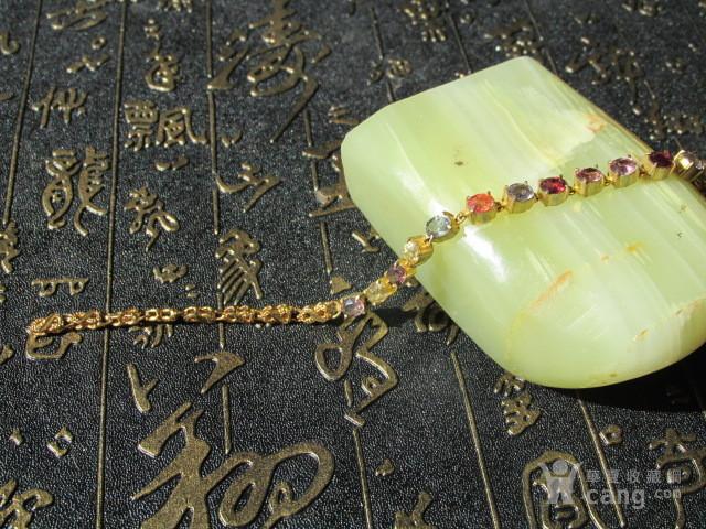 【回流】天然碧玺 手链 纯净度 火彩非常好 银鎏金镶嵌图1