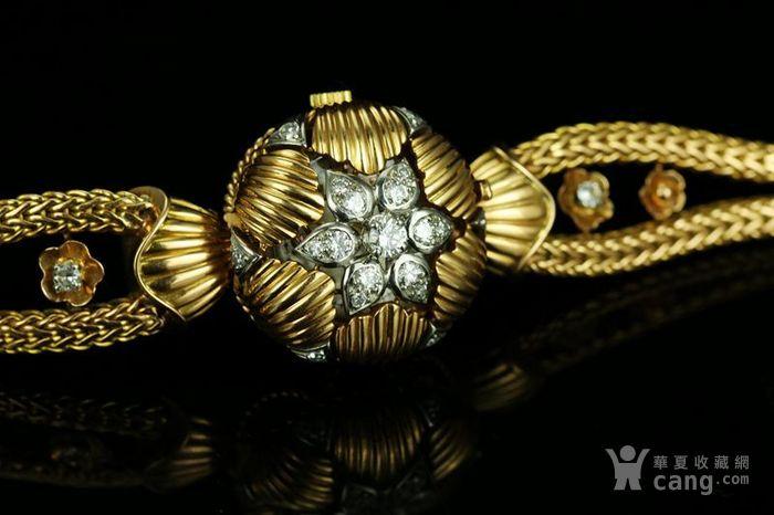 法国古董18k黄金钻石手表女士腕表机械手上弦