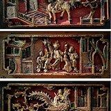 清代 矿彩 金漆 人物典故 雕板套