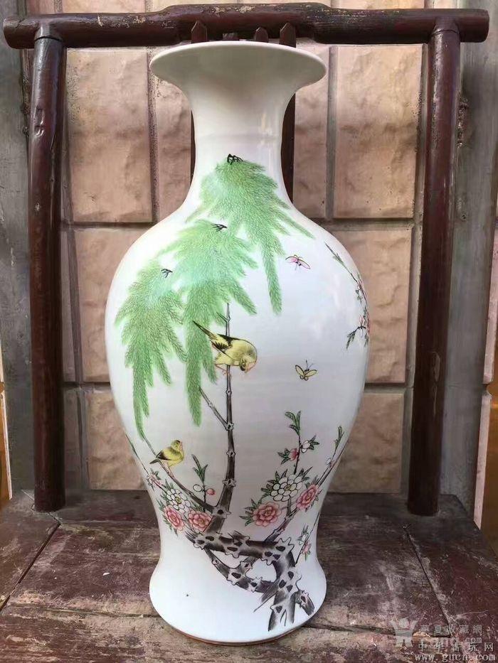 粉彩柳树黄莺观音瓶