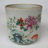 【精致】晚清粉彩硬彩海水红日牡丹天竹子仙鹤纹马克茶杯
