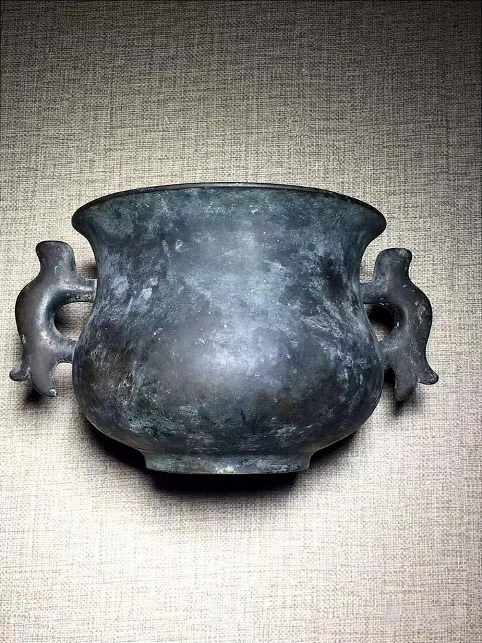 清早期-大明宣德年制-超大超重-鱼耳铜炉