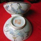 民国早期瓷绘名家余远生作品粉彩美人如玉人物纹碗一对(包老)