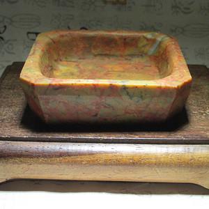 色肉俱佳 血龙丝纹 满肉 战 国 红 烟灰缸 也可做砚
