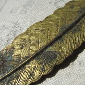 【回流】铜鎏金 羽毛书签 薄如纸 工艺非常不错 包浆老厚
