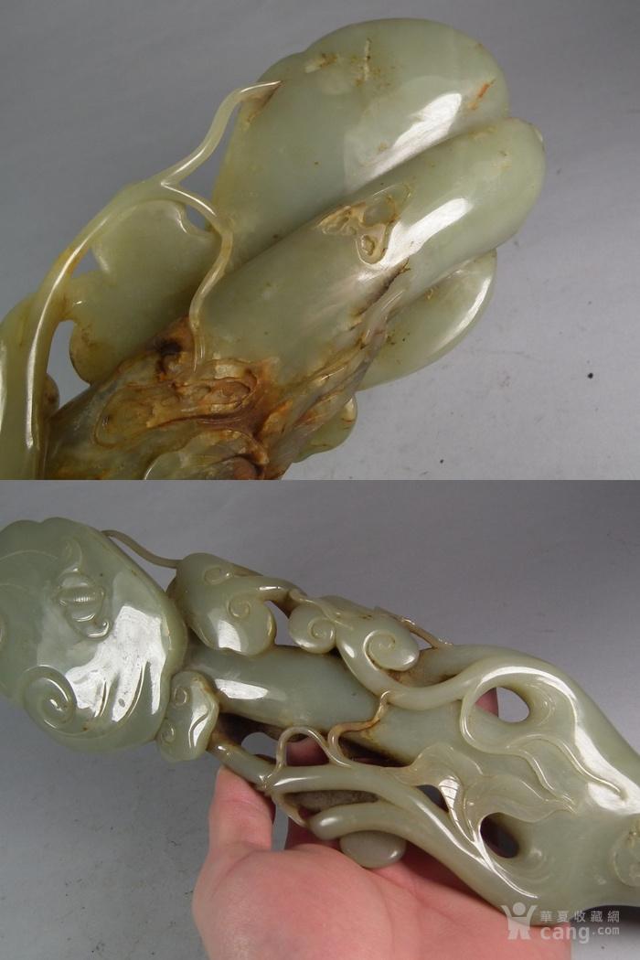 明代和田青白玉带黄沁镂空圆雕蝙蝠子母灵芝大型摆件
