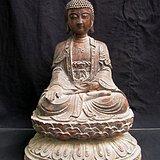 清代铜鎏金仰俯莲座佛像
