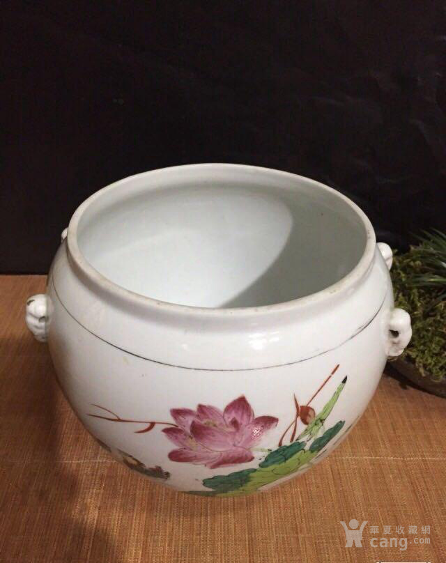 德化70年代国营厂生产的,手画五彩,当杯洗或养花图1