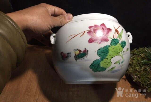 德化70年代国营厂生产的,手画五彩,当杯洗或养花图2