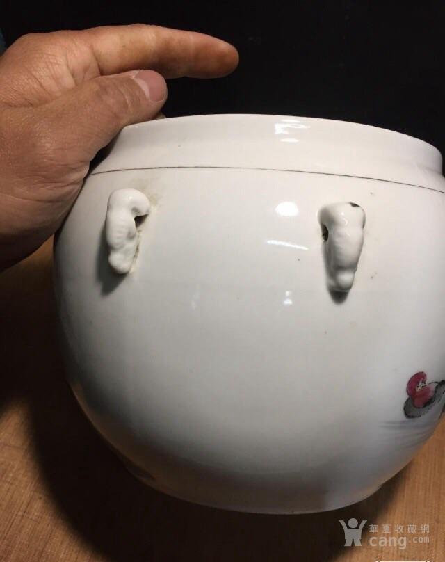 德化70年代国营厂生产的,手画五彩,当杯洗或养花图6
