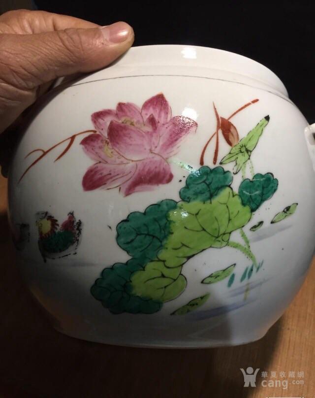德化70年代国营厂生产的,手画五彩,当杯洗或养花图8