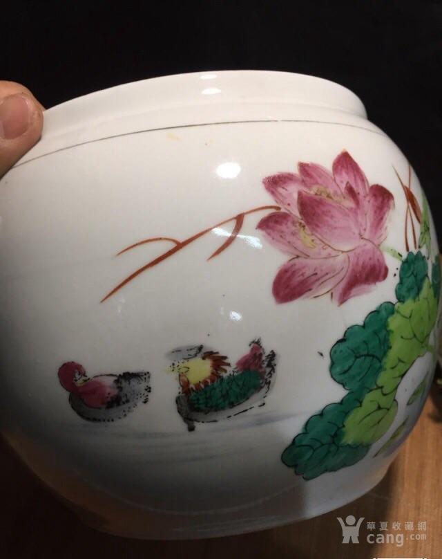德化70年代国营厂生产的,手画五彩,当杯洗或养花图9