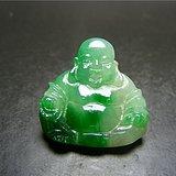 清代老料子改的冰种飘浓绿色翡翠浮雕弥勒佛大镶嵌件(实价)
