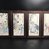 人物瓷板四扇画