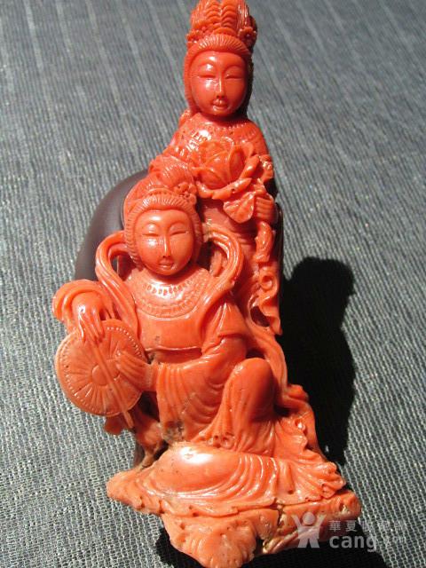 回流 晚清 红珊瑚 侍女摆件 整根雕刻 雕工精美 保存完整图1