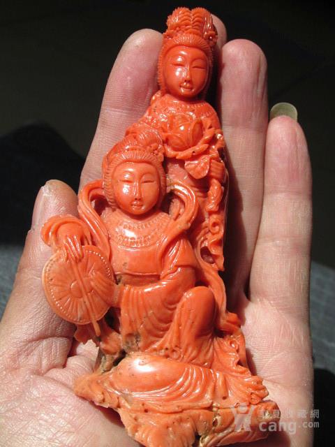 回流 晚清 红珊瑚 侍女摆件 整根雕刻 雕工精美 保存完整图3
