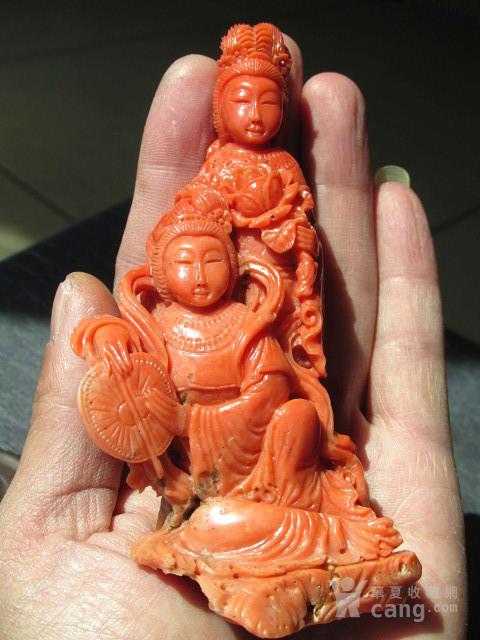 回流 晚清 红珊瑚 侍女摆件 整根雕刻 雕工精美 保存完整图12