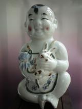 醴陵窑釉下五彩抱兔莲花童子