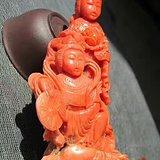回流 晚清 红珊瑚 侍女摆件 整根雕刻 雕工精美