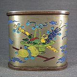 清 老白铜烤蓝暗八仙大烟丝盒