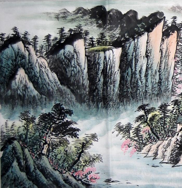 山中风景画简单