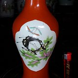 蝶恋花:民国细路红釉开窗观音瓶