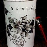 民国红店瓷庄:素雅的墨彩描金花卉高笔筒