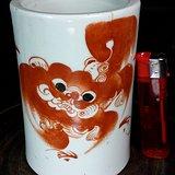 民国红店瓷庄名家生茂作:较大口径狮子笔筒