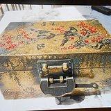 清代铜胎刻画喜雀登梅首饰盒
