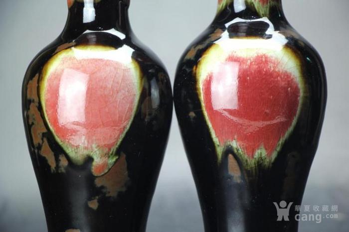清晚期窑变釉三阳开泰观音瓶一对
