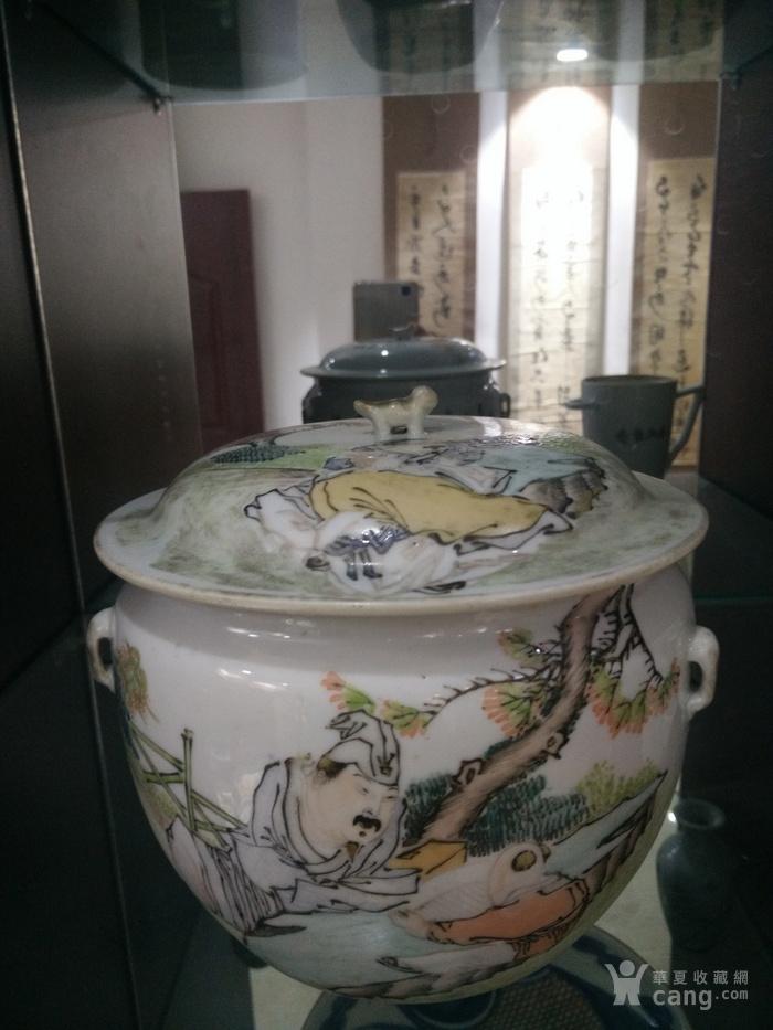 清晚期浅绛彩人物图粥罐