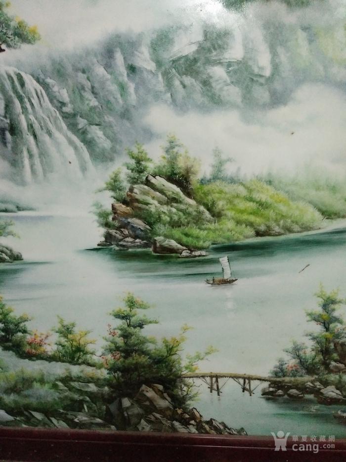 山水房屋瓷板畫