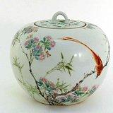 中国粉彩带盖茶叶罐