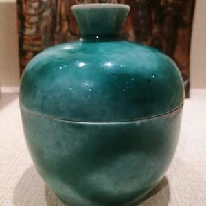 同治绿吹釉盖缸