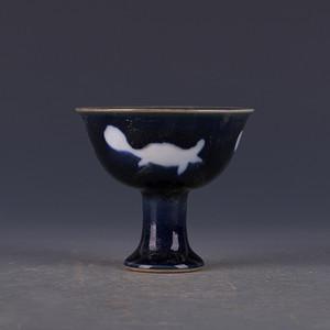 老瓷器明宣德霁蓝留白三鱼纹高足杯 高足碗 老货 古董古玩