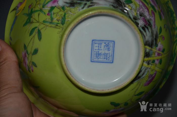 清雍正粉彩花鳥紋碗一對7x15