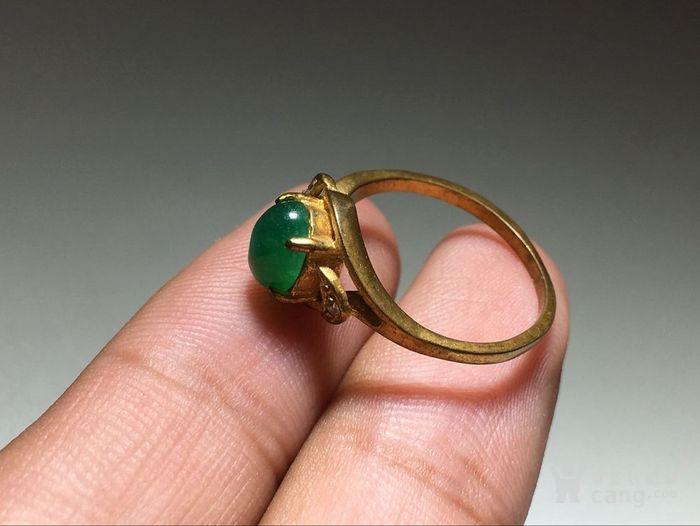 精品 五十年代 冰种满阳绿翡翠戒指 水头荧光都非常图5